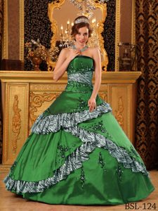Zebra Printing Accent Green Strapless Embroidery Quince Dresses