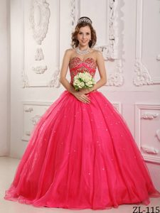 Hot Pink Princess Sweetheart Satin and Organza Beading Quinceanera Dress