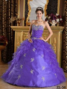 Lavender Sweetheart Ruffles Organza Quince Dresses Decorated Appliques