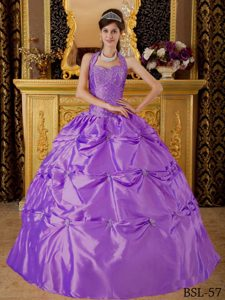 Purple Beaded Halter Appliques Dresses for A Quince with Pick-ups