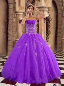 New Purple Ball Gown Organza Formal Quinceanera Dress with Beading