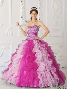 Multi-color A-line Sweetheart Quinceanera Dress with Ruffles in Organza