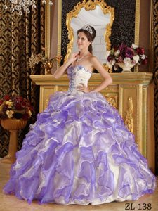 Special Ball Gown Ruffled Quinceanera Dress in Purple Organza for Less
