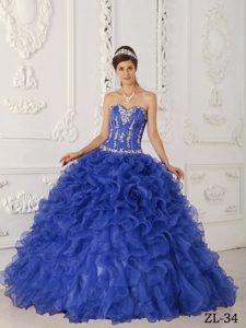 Purple Sweetheart Satin and Organza Quinceanera Dresses with Ruffles
