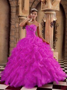 Fuchsia Ball Gown Sweetheart Ruffled Quinceanera Dresses in Organza