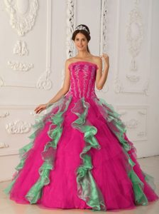 Coral Red and Green Strapless Dress for Quince with Ruffles Best Seller