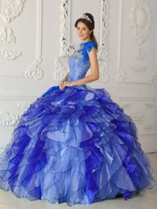 Royal Blue Strapless Ruffled Dress for Quince Made and Organza