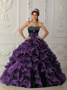 Lavender Beaded Sweetheart Organza Quinceanera Dresses with Ruffles