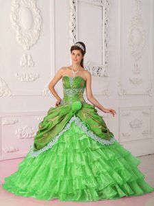 Spring Green Strapless Organza and Dress for Quince with Lace