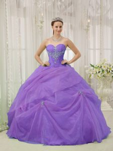 Purple Sweetheart Organza Quinceanera Dress with Appliques for Cheap