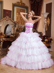 White Strapless Organza Appliqued Quinceanera Dress with Ruffed Layers