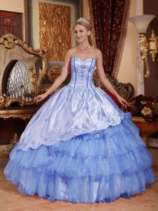 Aqua Blue Ball Gown and Organza Quince Dress with Embroidery