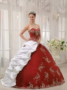 Wine Red and White Sweetheart Quinceanera Dress and Taffeta