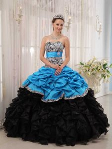 Brand New Ball Gown Quinceanera Dress with Pick Ups in Aqua and Black