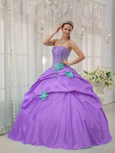 Lavender Beaded Strapless Dress for Quince with Hand Flowers