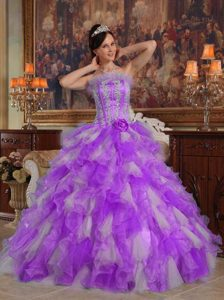 Fuchsia Strapless Riffled Quinceanera Dresses with Appliques in Organza
