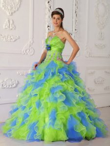 Multi-color Strapless Organza Dress for Quince with Ruffles and Beading