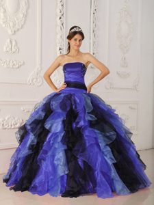 Multi-color Strapless Organza Dress for Quince with Appliques and Ruffles