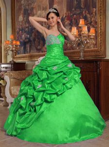 Unique Green Sweetheart Beaded Dress for Quince with Pick Ups