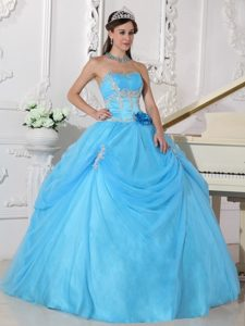 Aqua Blue Ball Gown Appliqued Dress for Quince in and Organza
