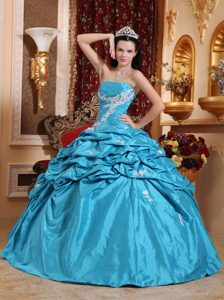 Special Aqua Blue Strapless Quinceanera Dress in with Appliques