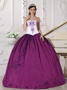 White and Purple Sweetheart Dress for Quince in with Embroidery