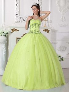 Sweetheart Yellow Green Tulle and Quinceanera Dress for Cheap