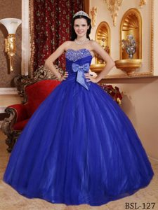 Blue Ball Gown Sweetheart Tulle and Dresses for Quince with Bow