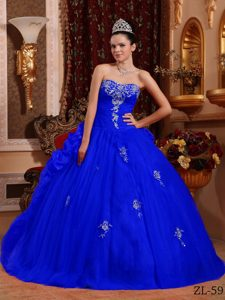 Blue Ball Gown Sweetheart Appliqued Best Dress for Quince in Organza