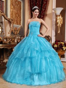 Aqua Blue Strapless Formal Quinceanera Dress in Organza with Beading