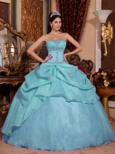 Light Blue Ball Gown Strapless Dress for Quince in Organza with Beading
