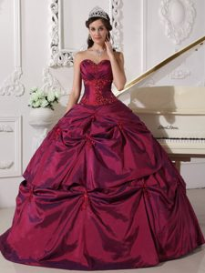 Fuchsia Sweetheart Appliqued Quinceanera Dresses in for Cheap