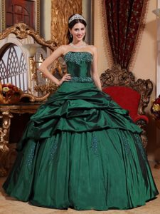 Green Ball Gown Strapless Quinceanera Dresses in with Pick Ups