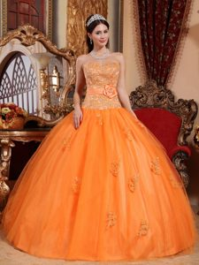 Orange Beaded Sweetheart Quinceanera Dresses with Appliques