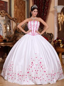 White Strapless Quinceanera Dress with Beading and Embroidery