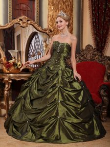Olive Green Strapless Quinceanera Dress with Beading Best Seller