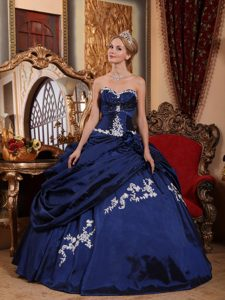 Blue Sweetheart Dresses for Quince with Appliques and Pick-ups