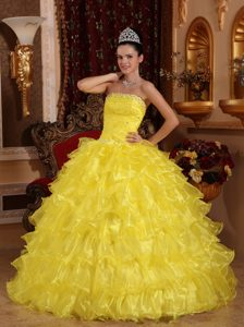 Special Yellow Strapless Organza Quinceanera Formal Dress with Ruffles