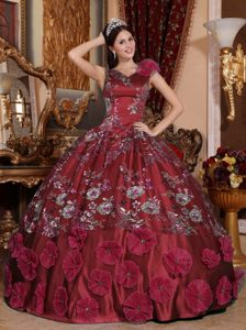2013 Wine Red Ball Gown V-neck Satin Quinceanera Dress with Appliques