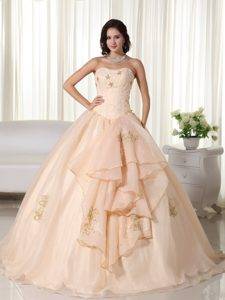 Champagne Strapless Quinceanera Dresses in Organza with Embroidery