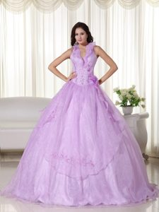 Lavender Ball Gown Halter Top Embroidery Quinceanera Dress