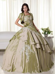 Olive Green Ball Gown Strapless Dress for Quince in with Appliques