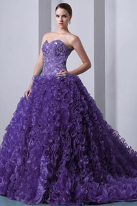 Purple A-line Beaded Sweetheart Dress for Quince in Organza with Ruffles