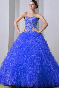 Blue Princess Sweetheart Organza Quinceanea Dress with Rolling Flowers