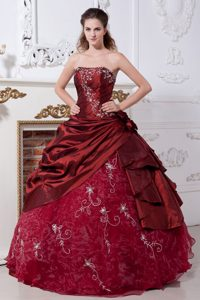 Wine Red Strapless and Organza Quinceanera Dresses for Cheap