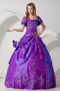 Purple Ball Gown Strapless Dresses for Quince with Embroidery
