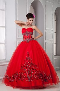 Red Sweetheart Tulle Quinceanera Formal Dresses with Beading for Less