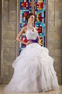 White Ball Gown Beaded Halter Organza Quinceanea Dresses with Sash