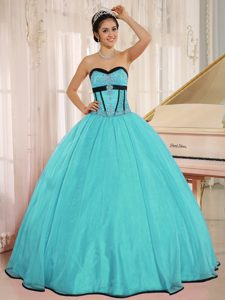 New Aqua Blue Sweetheart Qunceanera Dress with Beading in Organza