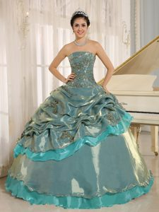 Multi-color Strapless Appliqued Dresses for Quince in Organza for Cheap